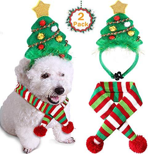 B Bascolor Pet Costume Christmas Tree Headband Scarf