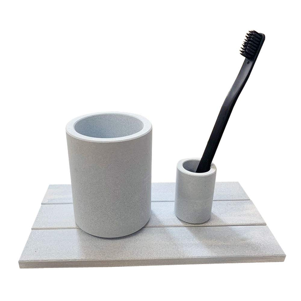 LEAF HOME Premium Ceramic Toothbrush Stand Bathroom Set Blue Self Dry Material Diatomaceous Earth (Toothbrush Stands Drying Board 3 Pieces)