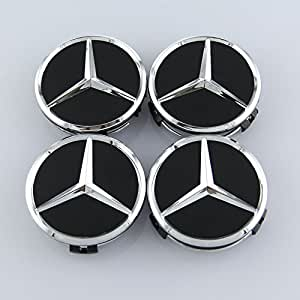 Czlpv 4 Pcs Black 75mm Car Wheel Center Cap For Mercedes