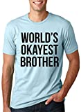 Mens Worlds Okayest Brother Shirt Funny T Shirts Big Brother Sister Gift Idea (Light Blue) - L