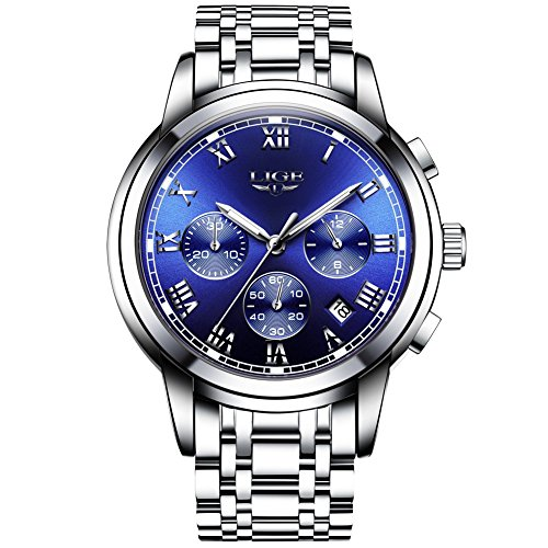 Men's Watches,Stainless Steel Band Waterproof Quartz Watch, LIGE Luxury Business Analog Chronograph Date Wrist Watch by LIGE (Image #1)