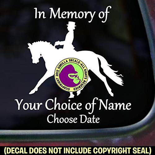 MEMORIAL Dressage Rider ADD CUSTOM WORDS Vinyl Decal Sticker C