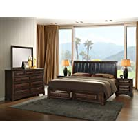 Roundhill Furniture B179QDMN2 Broval 179 Light Espresso Finish Queen Storage Bed, Dresser, Mirror, 2 Night Stands Wood Bed Room Set