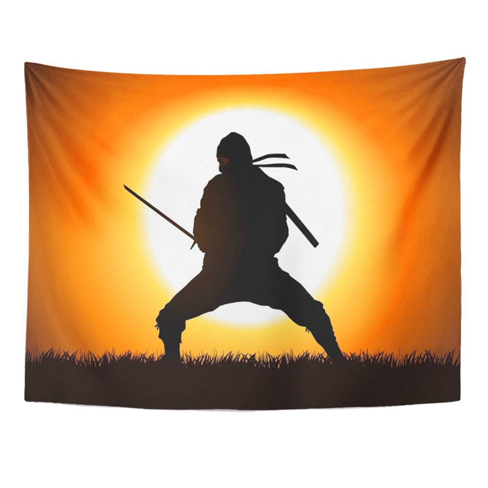Amazon.com: YGYIRRI Wall Tapestry Warrior Silhouette of ...