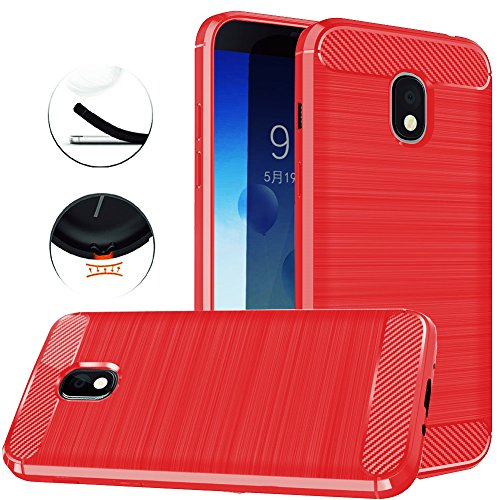 Samsung Galaxy J3 2018, J3V J3 V 3rd Gen,Express Prime 3, J3 Star, J3 Achieve, Amp Prime 3 Case, Dretal Carbon Fiber Brushed Texture Soft TPU Protective Cover (Red)