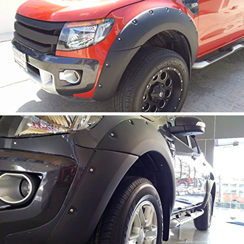 Wotefusi Car Screws Mount Type Matt Black Mud Flaps Fender Protectors Set Kit for Ford Ranger T6 4-Door 2012-2014 2013