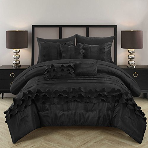 Chic Home 10 Piece Denver Rouching Pleated Ruffles Complete Bed In A Bag Comforter Set Sheets Set And Deocrative Pillows Included, Queen, Black
