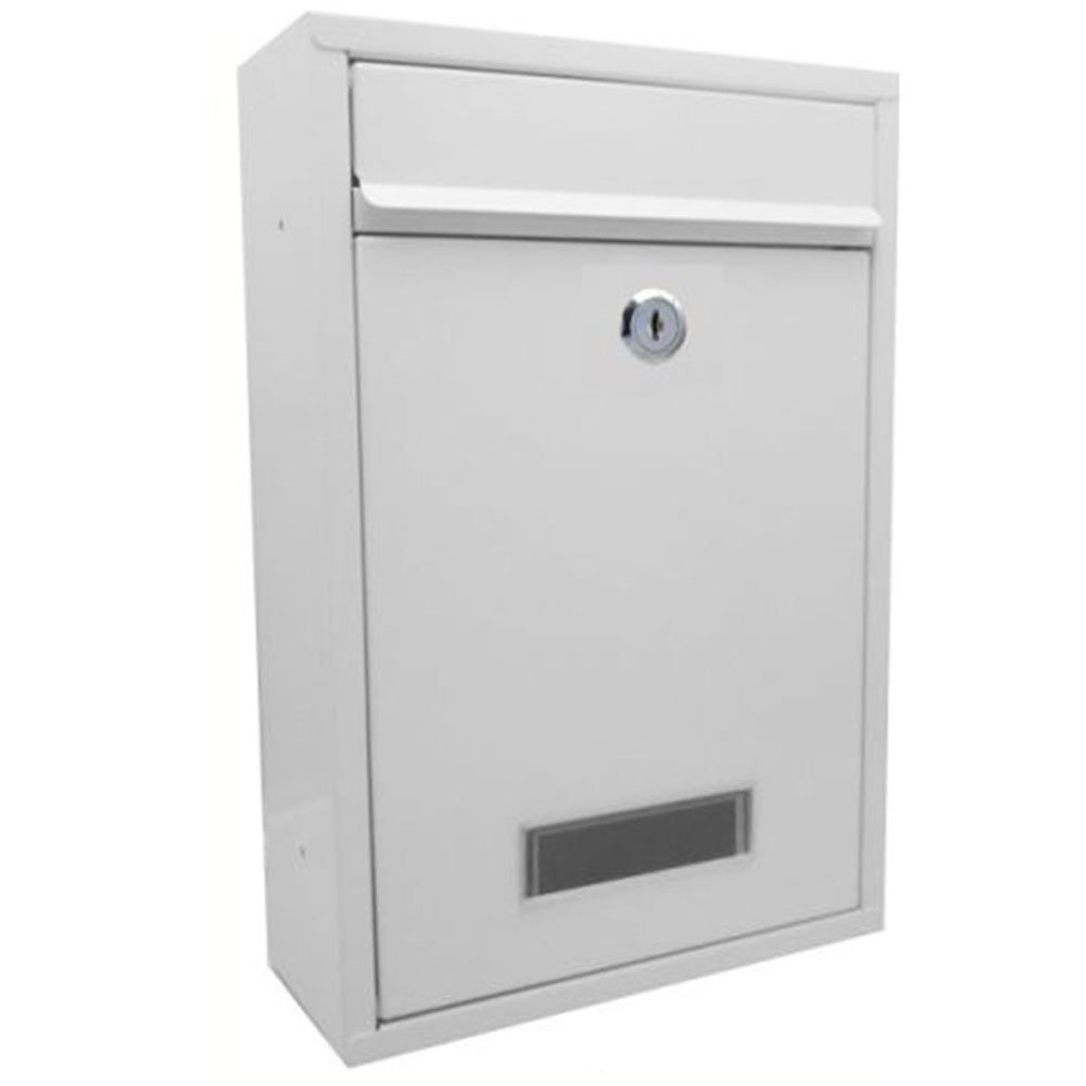 Arboria Square Postbox In White - Metal Mail Letter Box Arboria By Home Discount