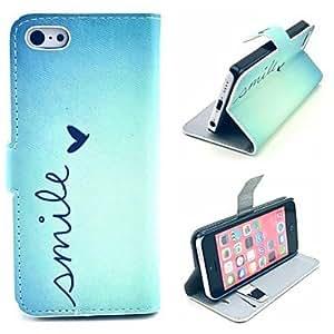 MOFY- sonre'r de patr-n de coraz-n todos los d'as de la PU cubierta de cuero con soporte y soporte de la tarjeta para el iphone 5c
