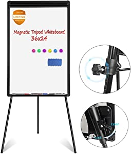 White Board Easel, Magnetic Dry Erase Board 36 x 24 inches Flipchart Easel Whiteboard, Height Adjustable Tripod Whiteboard with 1 Eraser, 3 Markers, 6 Magnets, Black