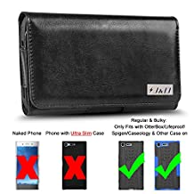 Xperia XZ Premium Holster, J&D PU Leather Holster Pouch Case with Belt Clip, Leather ID Wallet Case for Sony Xperia XZ Premium (Only Fits with Regular/Bulky Case On - OtterBox/Spigen/Other Case)