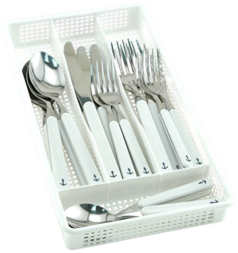Galleyware Anchor 40 Piece Flatware, Set Plus Storage Tray (Service For 8)