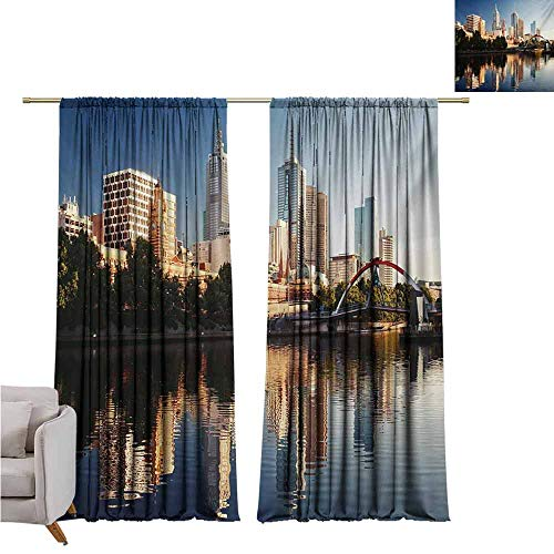 City Heat Insulation Curtain Idyllic View of Yarra River Melbourne Australia Architecture Tourism for Living Room or Bedroom W52 x L84 Inch Dark Blue Ivory Dark Green (Cafe Melbourne Outdoor Furniture)