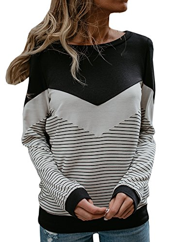 Nulibenna Womens Striped Shirts Crew Neck Color Block Oversized Knitted Sweatshirt