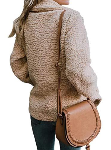 Outwear Womens Blazer Khaki Mogogo Jackets Turn Collar Down Plush Button Woolen zvvqpdg