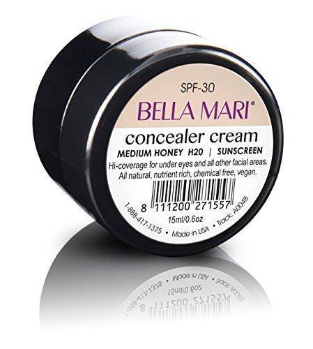 Natural Concealer Cream by Bella Mari (Medium Honey, 0.5 Fl Oz Glass Jar) - Made with Organic Ingredients - No Toxic…