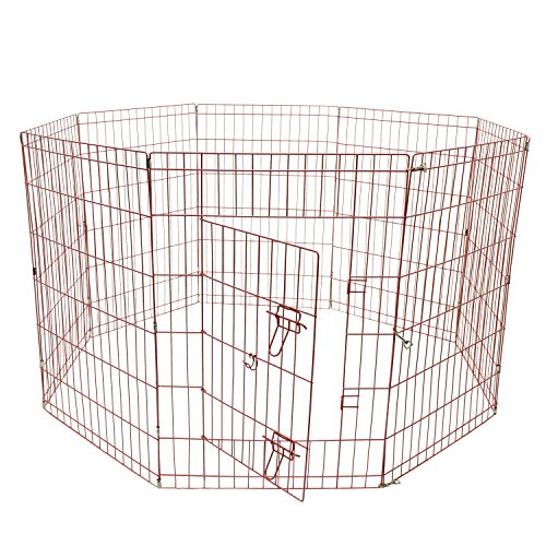 ALEKO SDK-42P Heavy Duty Pet Playpen Dog Kennel Pen Exercise Cage Fence 8 Panel 24 x 42 Inches Pink Review