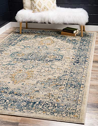Tan Medallion - Unique Loom Oslo Collection Vintage Traditional Floral Beige Area Rug (6' x 9')