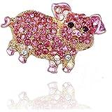 Cikuso 女性 女の子のためのファッションブローチ 自然動物 素敵な合金のラインストーンのブローチピン(ピンクの豚)