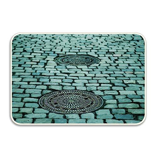 Btsyera Manhole Cover in Street Indoor/Outdoor Doormat Non-Slip Floor Welcome Mats 16