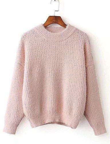 BaiChunYunYi Damen Standard Pullover-Ausgehen Lässig Alltäglich Einfach Solide Rundhalsausschnitt Langarm Wolle Baumwolle Frühling Herbst Dünn Mittel