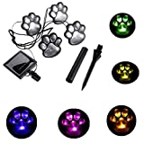 Finlon Paw Print Solar Garden Lights – Set of 4 Solar Powered Lights – Dog Puppy Pet Animal Paws Design Outdoor Landscape Lighting for Lawn Decor Gardening Landscaping Yard Pool Parties by Ideas In Li For Sale