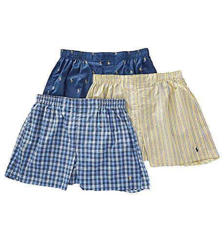 Polo Ralph Lauren Classic Fit Woven Cotton Boxers 3-Pack, XL, Plaid/Stripe Combo (Boxer Classic Mens Plaid)