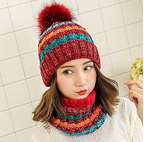 Amazon.com   Woman Knit Beanie Hat and Scarf Set Hairball Pom Pom Hats  Female Thick Hat 2pcs Winter Warm Cute Girls Fashion Cap Collar Suit (Red  Scarf Hat) ... 25513e3454f