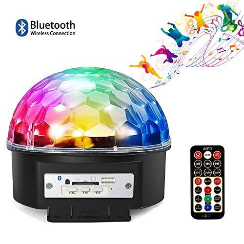 Bluetooth Party Lights,9 Colors LED Sound Activated Strobe Rotating Bluetooth Speaker Disco Ball Party Lights,Dj Stage Lighting with Remote Control for Halloween Party Xmas Bar Club Wedding Show]()