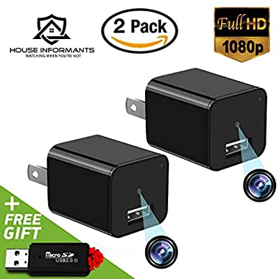 Hidden Spy Camera | 2 Pack | 1080P Full HD |Has Motion Detection | Loop Recording | Free Flash Transfer Stick | for Protection and Surveillance of Your Home and Office