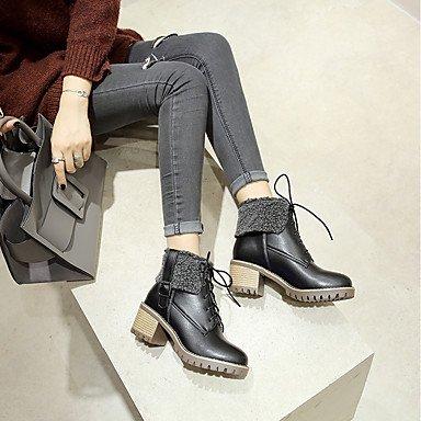 Heart&M Mujer Zapatos PU Otoño Invierno Confort Botas Tacón Robusto Dedo redondo Con Cordón Para Blanco Negro Beige black