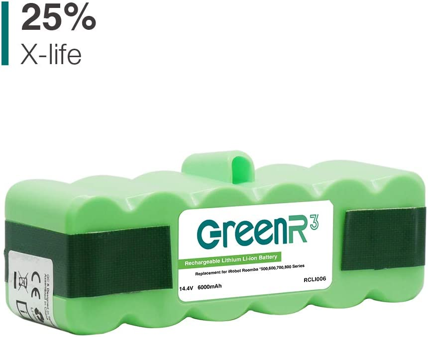 GreenR3 6000mAh 6.0Ah 14.4V Lithium ion Battery for iRobot Roomba 500 600 700 510 520 530 531 532 535 536 540 550 551 560 570 580 650 680 690 760 770 790 800 870 900 980