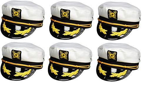 Nicky Bigs Novelties Sailor Ship Yacht Boat Captain Hat Navy Marines Admiral White Gold Cap 6 Pack