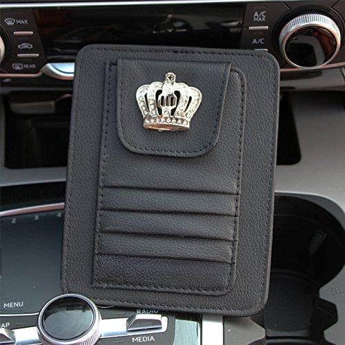 Besplore Luxury Leather Crown Card Holder Card Clip for Car Sun Visor Car Sun Visor Accessories Car Sun Visor Organizer Universal Car Auto Card Clip Storage,Black