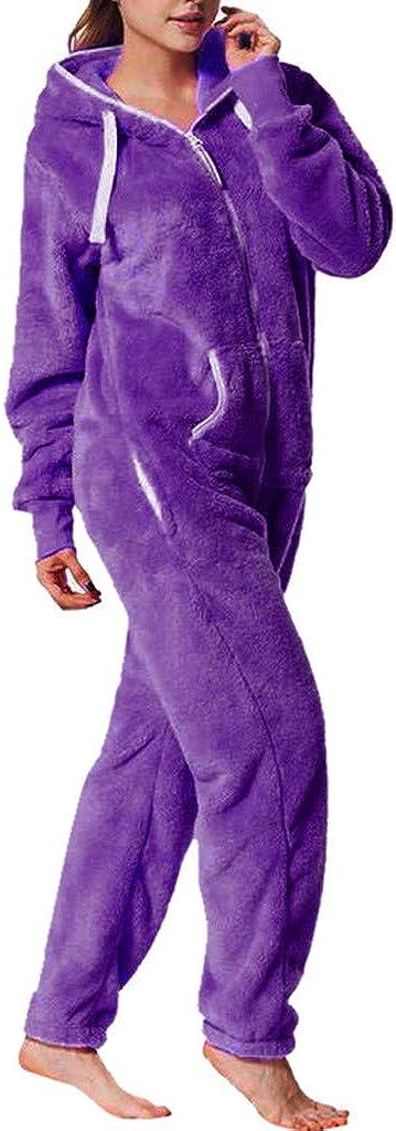 Bas de Pyjama en Polaire Hiver Ensemble Combinaison Femme,Overdose Soldes Comfort Manches Longues Pantalon De Jogging Casual One Piece Jumpsuit