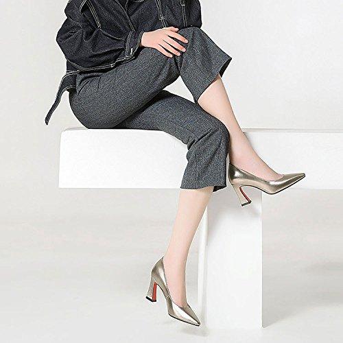 Champagne des Peu Saisons A Bouche Chaussures Quatre Le Robe Profonde épais Femmes Travaillent Talons des Souligné des Cuir DKFJKI ZW1qvYUZ