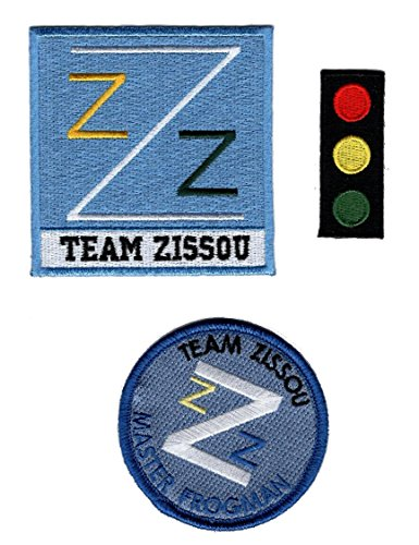Life Aquatic Zissou Costume (Team Zissou Life Aquatic LogoTraffic Light Frogman Ballcap Bundle 3pcs IRON ON Costume Patch)