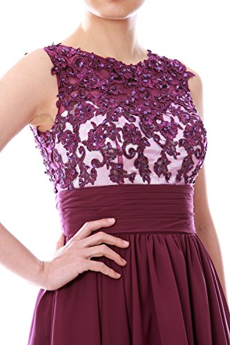 MACloth Women Beaded Lace Chiffon Short Prom Formal Dress Cocktail Party Gown Gris