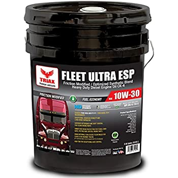 Triax Fleet Ultra ESP 10W-30 CK-4 Synthetic Blend - Friction Modified,  Molybdenum/Boron Enriched - Ultimate Anti-Wear Protection- Fuel Efficient  (3%