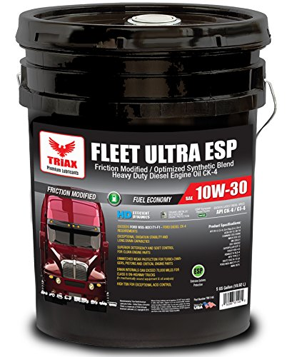 Triax Fleet Ultra ESP 10W-30 CK-4 Synthetic Blend - Friction Modified, Molybdenum/Boron Enriched - Ultimate Anti-Wear Protection- Fuel Efficient (3% vs 15W-40) (5 GAL Pail)