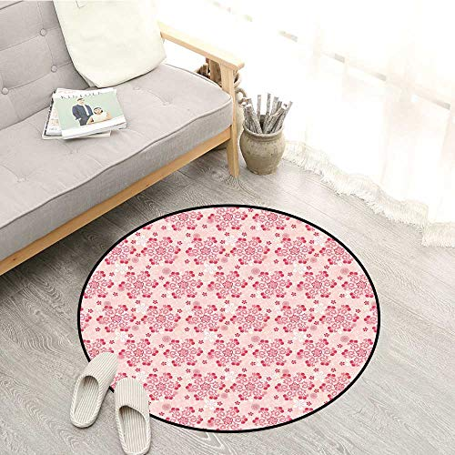 Cherry Blossom Skid-Resistant Rugs Abstract Ornamental Design with Curls Swirls Flowers Vintage Sofa Coffee Table Mat 2'3