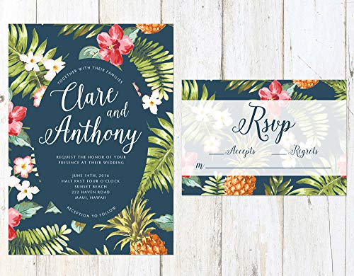 Hawaiian Wedding Invitation, Tropical Wedding Invitation, Palm Leaves Invitation