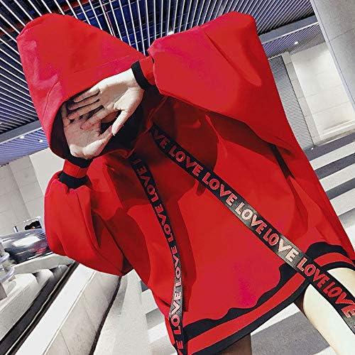Womens Felpa con Cappuccio Casual Loose Maniche Lunghe Moda Ragazza Vestiti