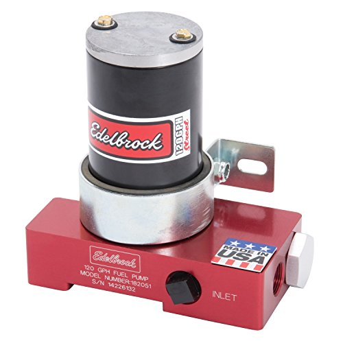 Edelbrock 182051 Quiet-Flo Electric Fuel Pump 120 GPH 6.5 PSI 3/8 in. NPT Inlet/Outlet 480+ HP Supported Red Carbureted Applications Factory Preset To 6.5PSI No Ext. Regulator Required  Quiet-Flo (Edelbrock Electric Fuel Pump)