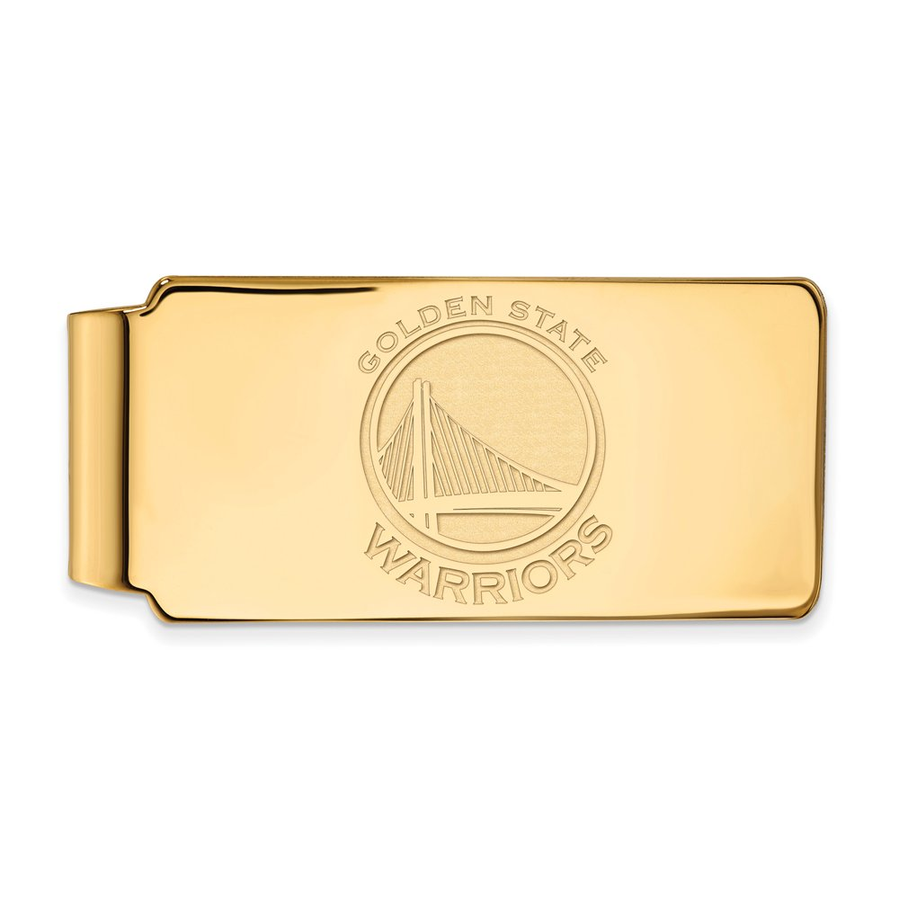 NBA Golden State Warriors Money Clip in 18k Yellow Gold Flashed Silver by LogoArt