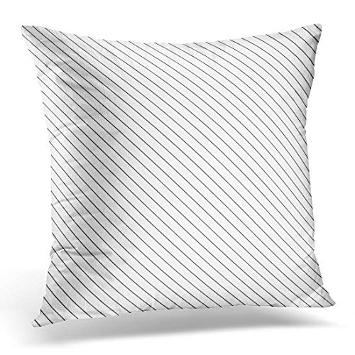 (Emvency Throw Pillow Covers Case Diagonal Thin Black Lines Abstract on White with Linear Angled Straight Stripes Slanted Pinstripe Decorative Pillowcase Cushion Cover 20 x 20 Inches)
