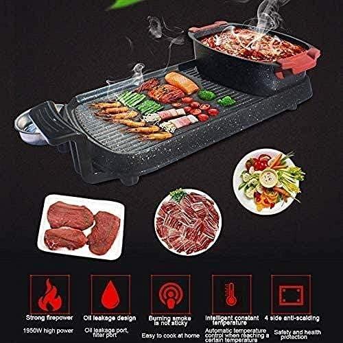 Grill électrique 1800W haute puissance Séparables sans fumée d'incendie chaudière 64 5X17X33CM antiadhésif barbecue cuisson électrique Pan hsvbkwm (Mise à jour) QIANGQIANG