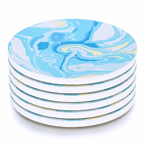 MECOWON Absorbent Stone Coasters - 6Packs Tabletop Drink Spill Coaster Set, Starry Sky Blue Style