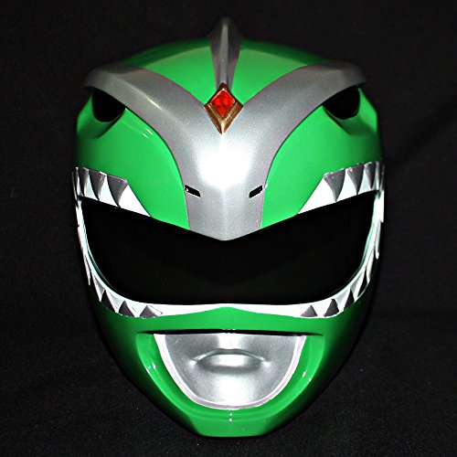 1:1 Halloween Costume Cosplay Mighty Morphin Power Ranger Helmet Mask Green PR08 (Mighty Morphin Power Ranger Helmet)