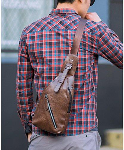 LAIDAYE Hombres Negocios PU Retro Hombro Diagonal Paquete De Paquete De Negocios Bolso De Hombro Bolsa De Pecho Brown